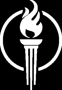 Logo Vlam met Cirkel (= aarde) - Logo De Liberale Wereld - Wit